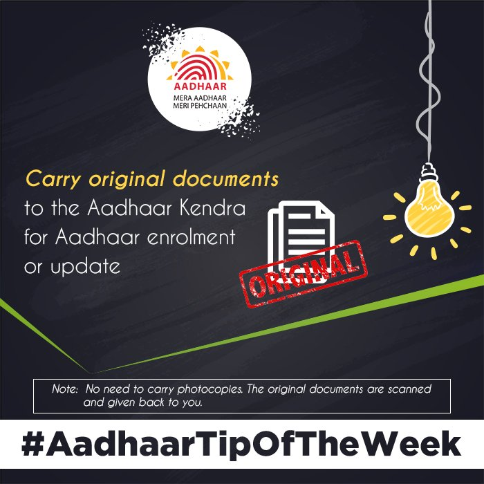 #AadhaarTipOfTheWeek You do not need any photocopies of the documents. Carry original documents to the Aadhaar Kendra. Pls check the list of valid documents acceptable for Aadhaar Enrolment or Update here:  https:// uidai.gov.in/images/commdoc /valid_documents_list.pdf &nbsp; … <br>http://pic.twitter.com/p4eHlM2HHt