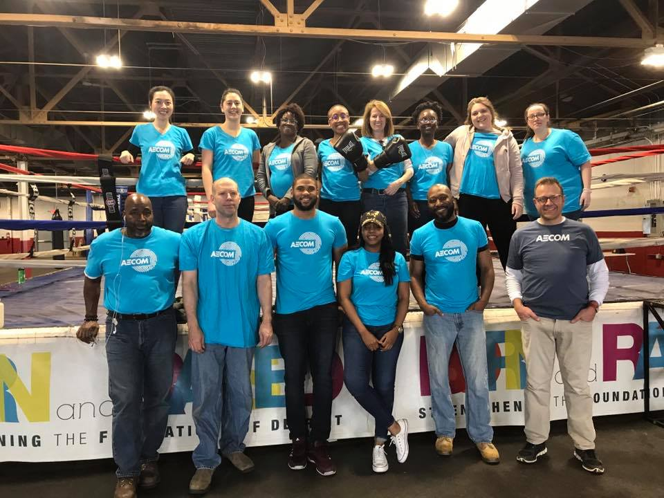 """For #NVW, our Detroit, Michigan, office volunteered at @DETBoxingGym, a free after-school educational program that provides academic support and athletics for children and teens. """"Our office is proud to help the gym as it makes a lasting impact on the community."""" #AECOMBlueprint"""