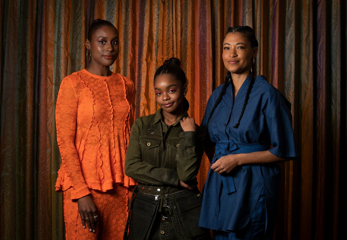 """In a rare feat for Hollywood, #LittleMovie features 5 black women in major roles: @marsaimartin, @IssaRae, @MoreReginaHall, director @TinaGordonChism & writer @TracyYOliver. When asked how often that happens, Rae said """"Rarely. Unless it's an @ava project"""" https://lat.ms/2Dbl4ya"""