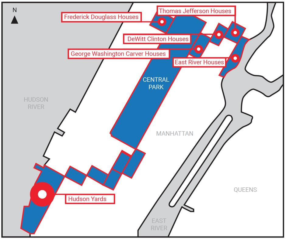 New York State gerrymandered a map to qualify Hudson Yards for $1.6 billion in financing meant for low-income areas—by threading it to public housing in Harlem. (@CityLab obtained the map info through FOIA.) http://bit.ly/2U9uGit