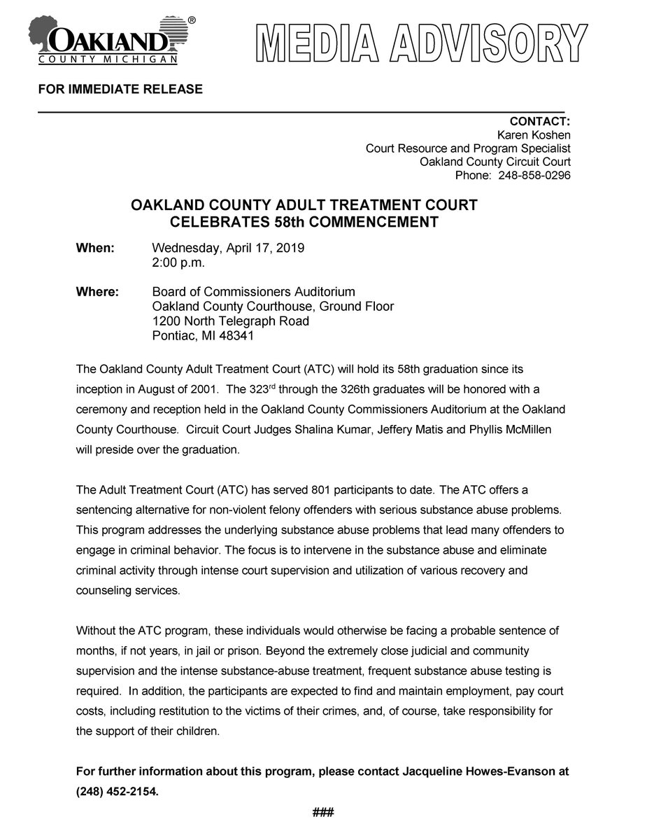 .@OakGov Adult Treatment Court Celebrates 58th Commencement, Wednesday, April 17, 2019, 2:00 p.m. See attached media advisory for details. @matcp02 #AlcoholAwarenessMonth