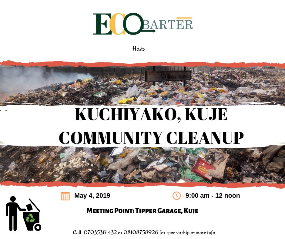 #KujeCleanup Our past Cleanups have been super productive; we even got as successful as getting management to clear up a major dumpsite. You don't want to miss this! Register at http://www.ecobarter.com/volunteers  to let us know you will be there #InnovativeVolunteerism