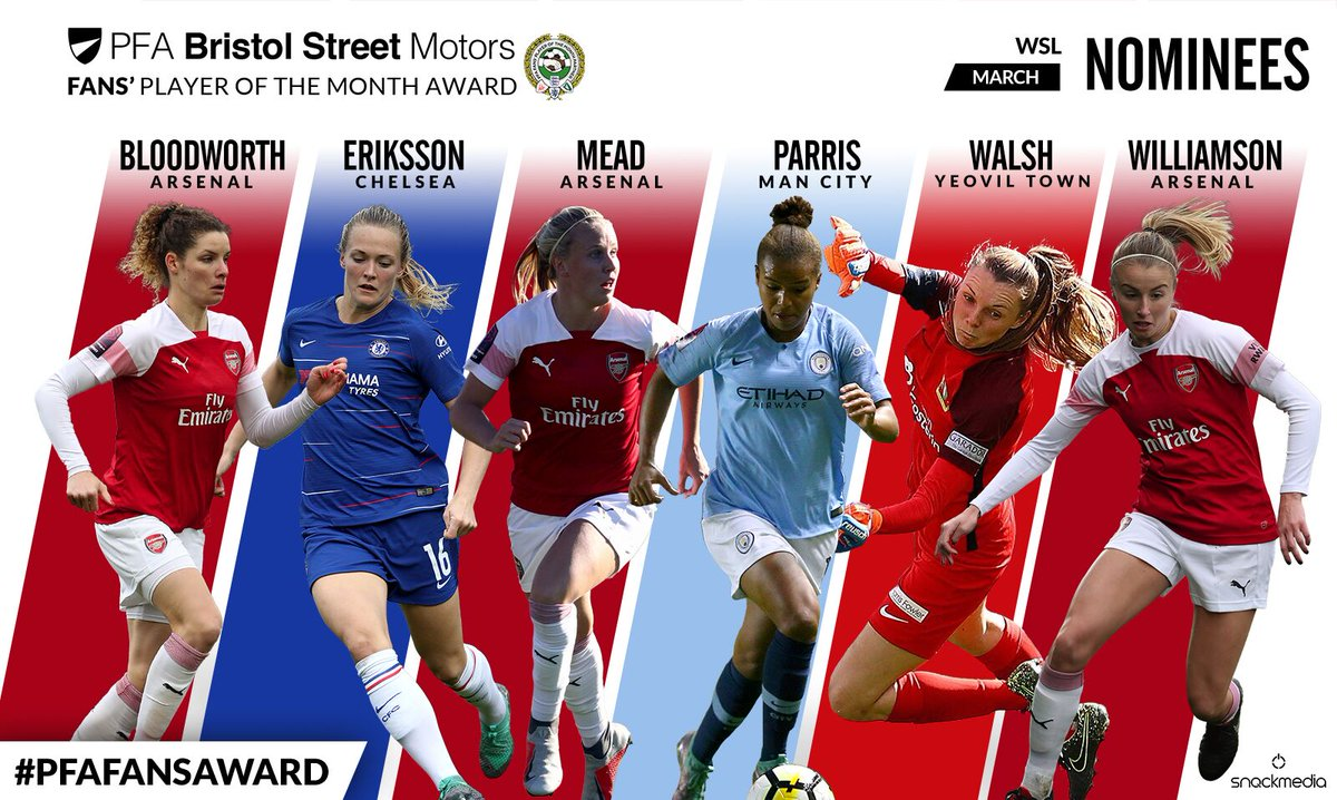 ⭐ The PFA @BristolStMotors FA WSL Fans' Player of the Month nominees!  🇳🇱 @DomBloodworth 🇸🇪 @MagdaEricsson 🏴󠁧󠁢󠁥󠁮󠁧󠁿 @bmeado9 🏴󠁧󠁢󠁥󠁮󠁧󠁿 @lilkeets 🏴󠁧󠁢󠁥󠁮󠁧󠁿 @Megs1994 🏴󠁧󠁢󠁥󠁮󠁧󠁿 @leahcwilliamson  🏆 #PFAFansAward  Who gets your vote? 👉 http://thepfa.com/fpotm