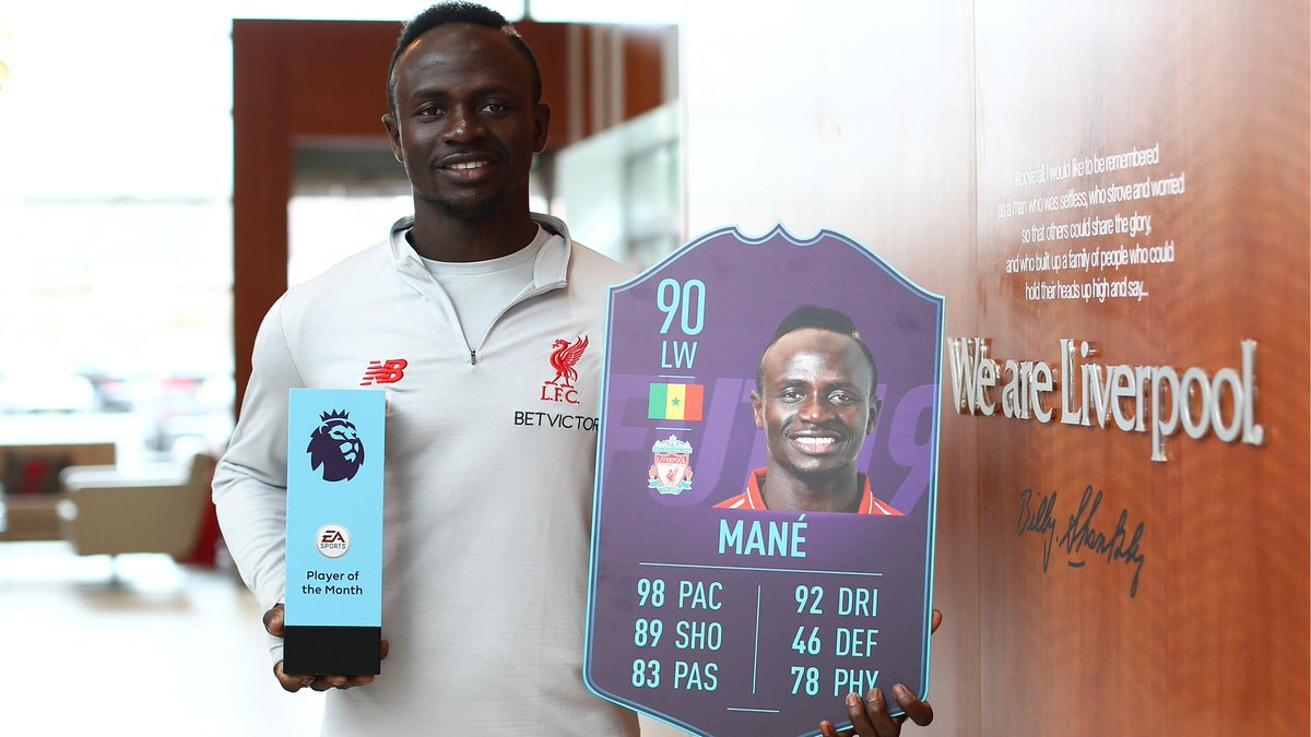 ⚡⚡ 98 Pace ⚡⚡  Sadio Mane is the #PL POTM for March! #FUT #FIFA19 @PremierLeague https://t.co/WXzRjcrcDU