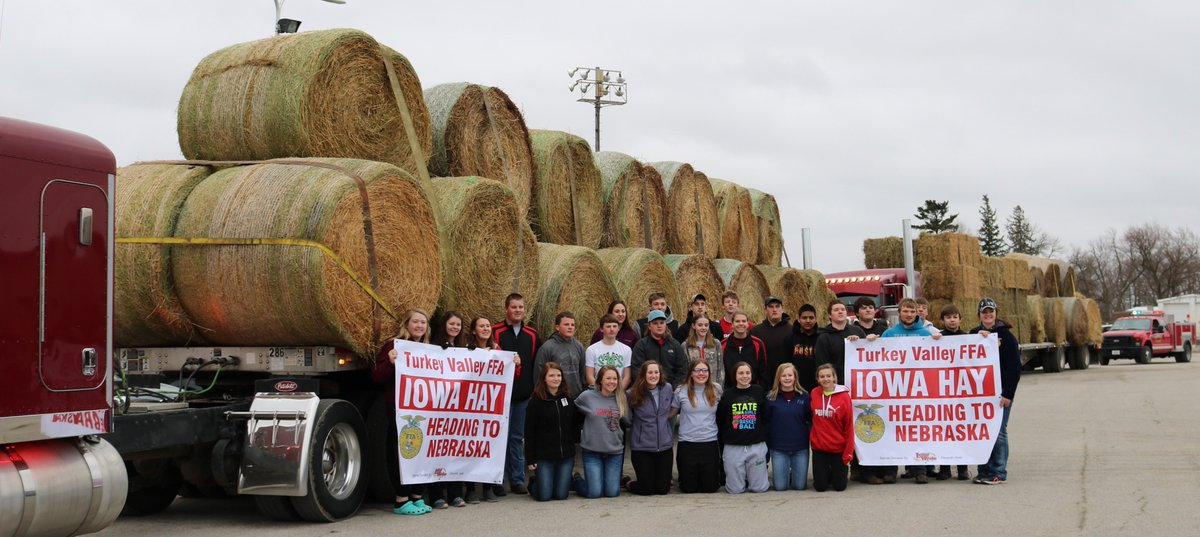 It's AMAZING to be a TV Trojan! FFA headed to NE today with hay & supplies over $10,000.  Safe travels & thank you for the donated supplies, time, & to the semi drivers! What a great community we have! Watch KWWL Channel 7 for coverage of the send off. #TVPride