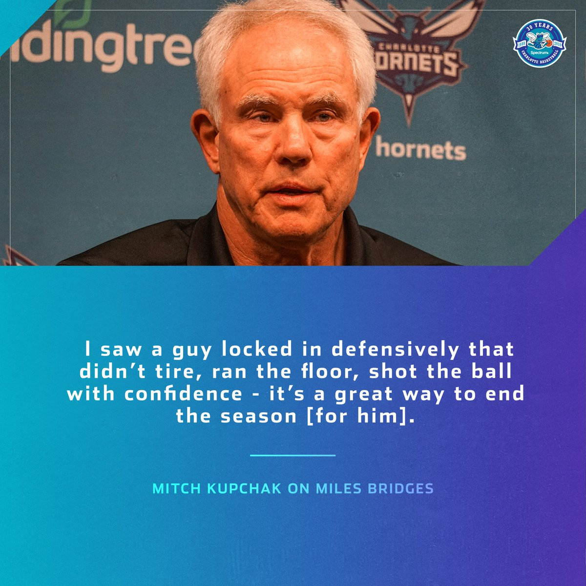 Mitch Kupchak giving praise to rookie Miles Bridges on his play at the end of the season. #hornets30