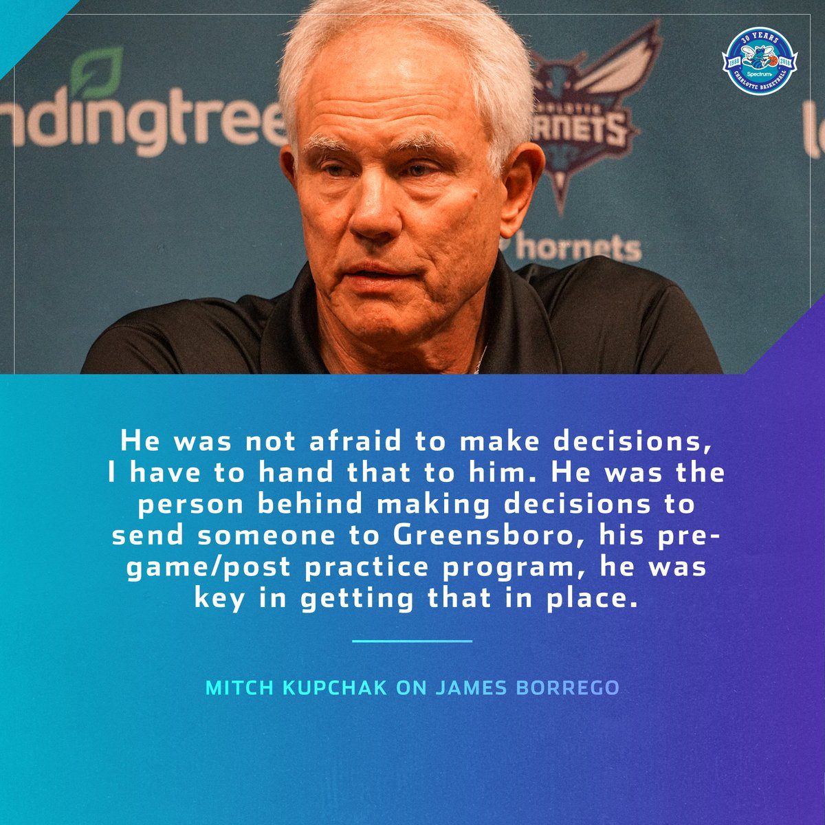 Hornets GM Mitch Kupchak on the great first year the James Borrego had as Hornets head coach. #hornets30