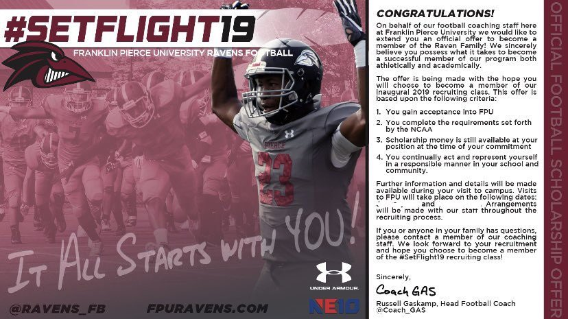 I have decided to continue my education and football careers at Franklin Pierce University! Thank you @OlivieriRicardo @kevinJking4 @Coach_GAS @Ravens_FB for an opportunity to be apart of something special! #SETFLIGHT19 #AZLOCKDOWNCORNERS #FAMILYFIRST
