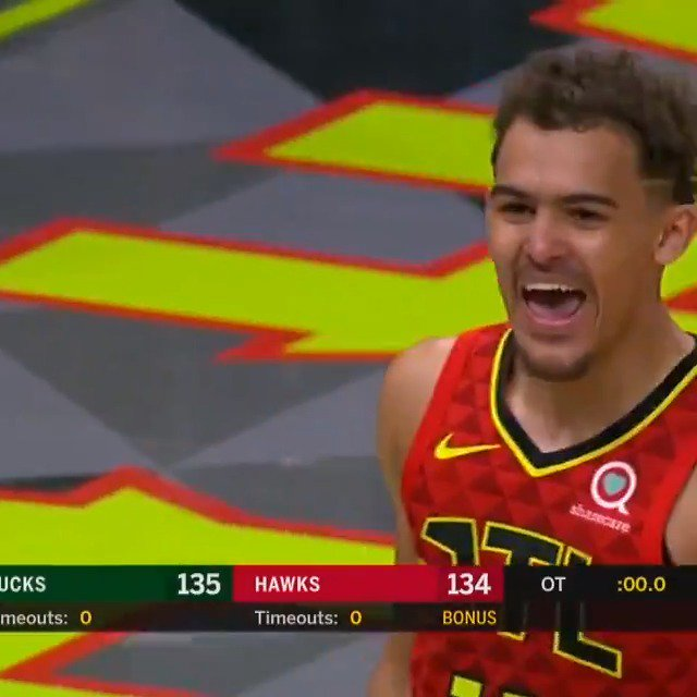 TRAE YOUNG PUTS IN THE #TISSOTBUZZERBEATER TO WIN IT FOR THE @ATLHAWKS IN OT! #THISISYOURTIME #TRUETOATLANTA