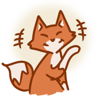 An illustrated fox giggling.