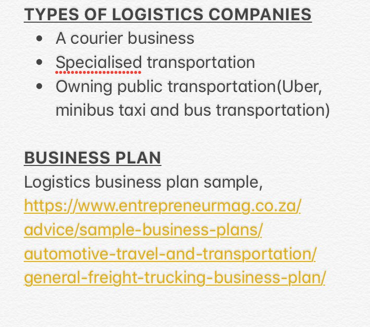 Blackbusinesses Sa On Twitter Businessmondays How To Start A Logistics Business Forecast Indicate That Demand For Freight Transport Will Grow In Sa By 200 250 Over The Next 15 Years Https T Co Ui6ckhataa