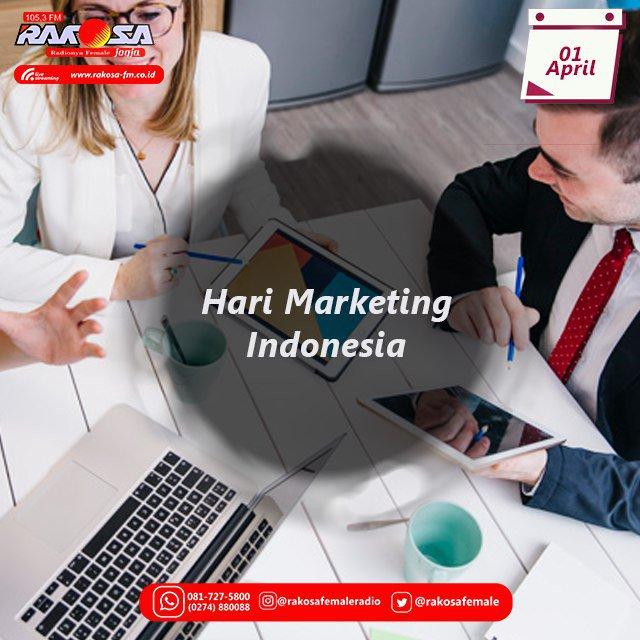 Pemilihan tanggal 1 April sebagai Hari Marketing Indonesia ialah karena biasanya tanggal tersebut menjadi dasar perusahaan menaikkan harga setelah melewati kuartal I.  #haribankindonesia #rakosafemaleradio #rakosafm  #jogjaradio #radiojogja #jogjastreamers #jogjakarta