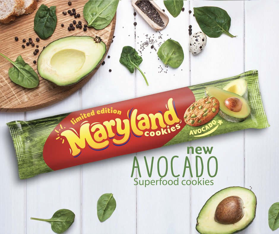 """Burton's Biscuit Co on Twitter: """"Forget smashed avo' on toast, #Maryland has taken the millennials' favourite food craze one step further with the launch of its brand-new Avocado Cookie. Read more here:"""