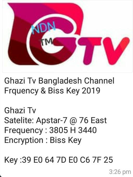 GHAZI TV On ApStar7 765E New Biss Key Ubdate t