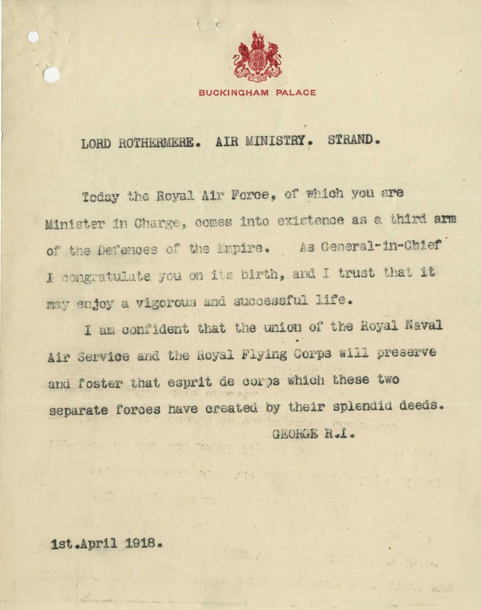 Today is our 101st birthday🎈  This is a message from King George V dated 1 April 1918.
