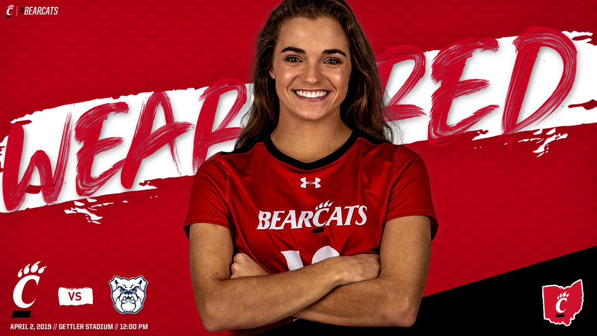 Be sure to wear your 🔴 tomorrow when the #Bearcats take on Butler at noon at Gettler Stadium!