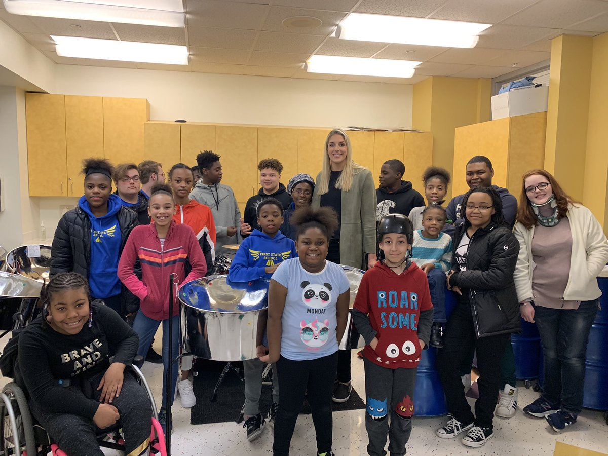 WNBA star and Christiana Care spokesperson @De11eDonne visited First State School today!