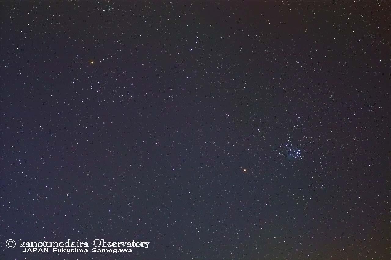 ヒアデス+すばると火星の接近(9日には月も)
