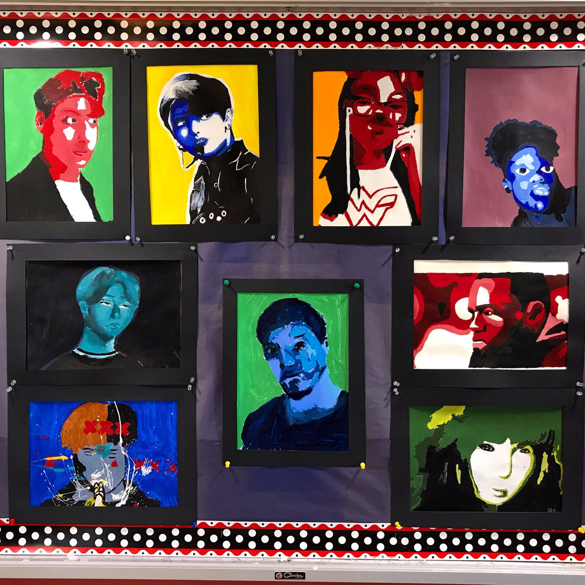 #8thgrade #monochromaticportrait #painting #bulletinboard #display #middleschoolart #kpop #xxxtentation @Liberty_WO @woschools #WO2Worldpic.twitter.com/o0AijGkOZY