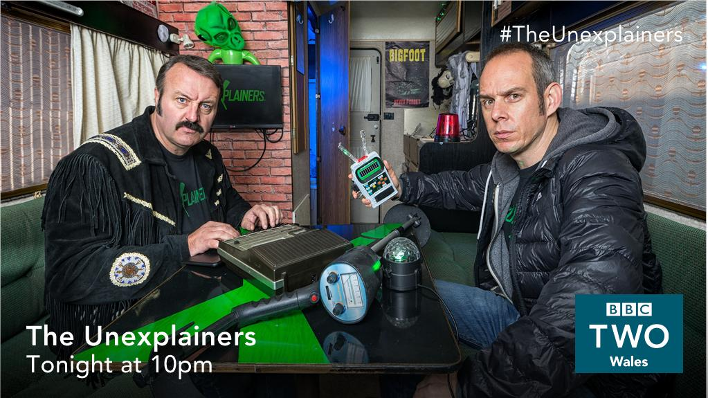 Close encounters of the absurd kind! 👽 @EggsyGLC and @MikeBubbins look into a pair of historic UFO mysteries in Wales.  #TheUnexplainers 📺 New episode tonight, 10pm @BBCTwo Wales https://t.co/hfm9C3l94F