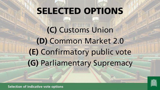 (C) Customs Union(D) Common Market 2.0(E) Confirmatory public vote(G) Parliamentary Supremacy