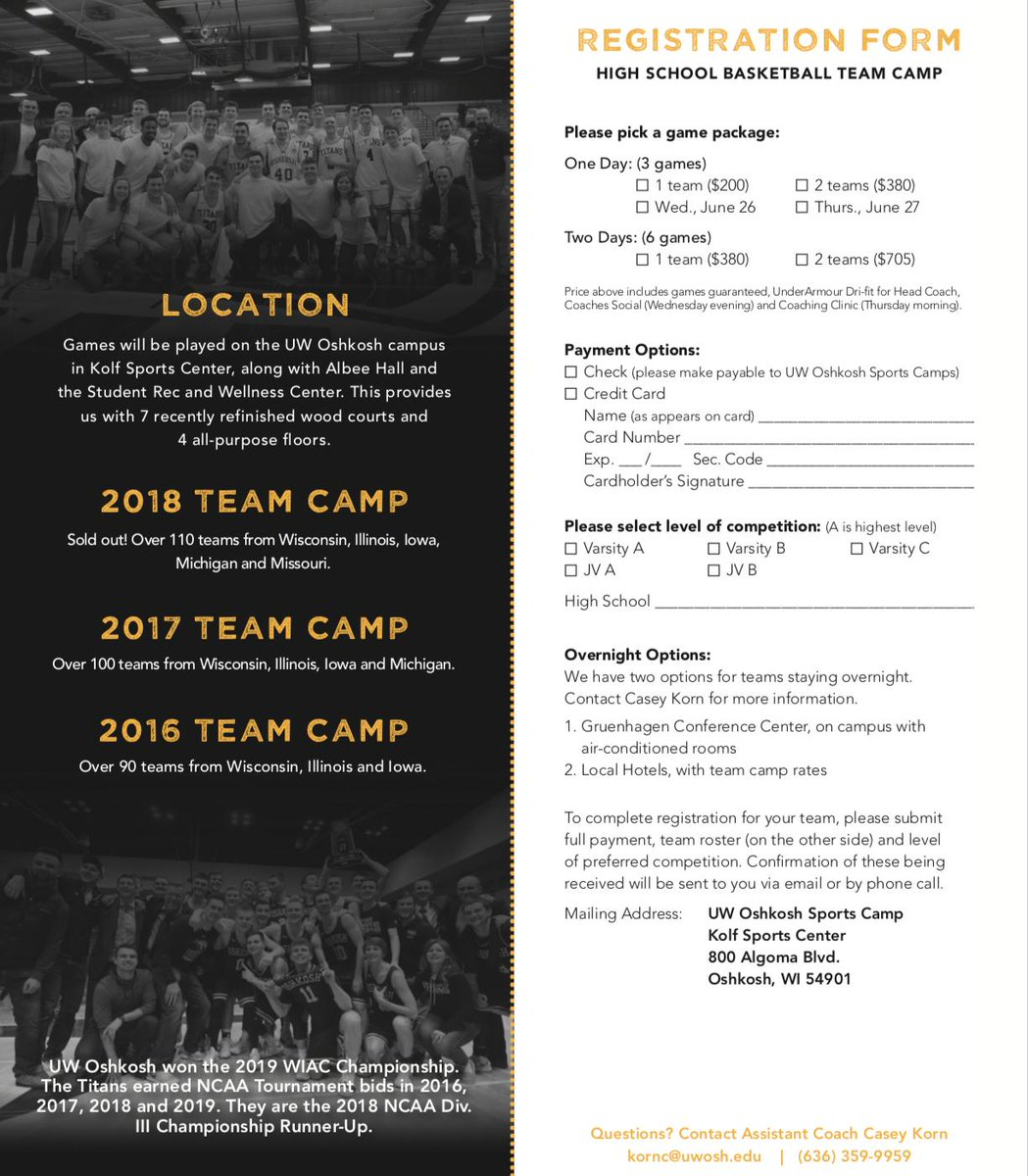Our Annual Team Camp is set for June 26-27, 2019! In 2018, we had 110 teams from WI, IL, IA, MI, & MO. We would be fired up to host your program this June! https://bit.ly/2Un2n45
