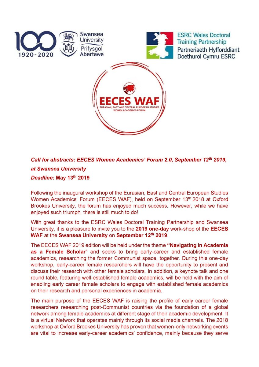 Wow!🙀 What a great weekend we had at #BASEES2019! Great to see new followers & emails flooding in from female academics at different stages in their career. Below is the Cfp for our upcoming workshop @SwanseaUni - to join our mailing list, email EECESWomen@gmail.com @BASEES