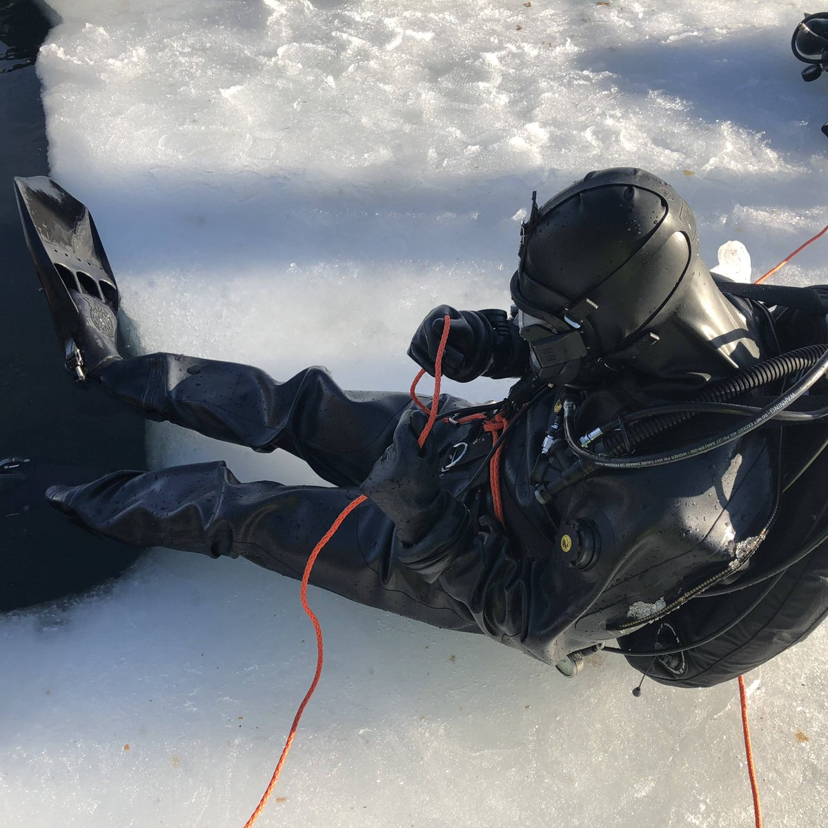 """Hmm... What's this rope for?"" #icediving #interspiro #divator #vikingdrysuit"