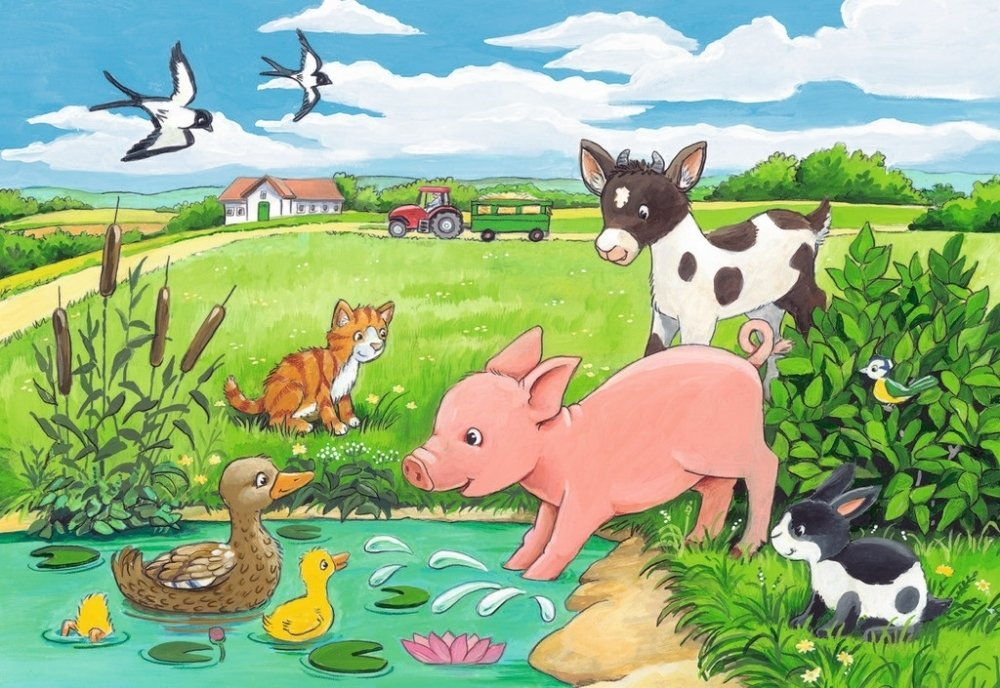 Осенние, картинки детские с животными на природе