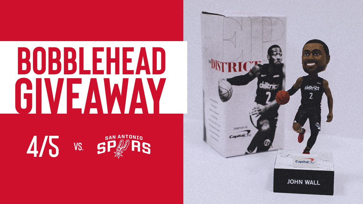 Be there for Friday's #WizSpurs to receive a limited edition John Wall bobblehead!  🎟 » http://bit.ly/2_5f | Pres. by @CapitalOne