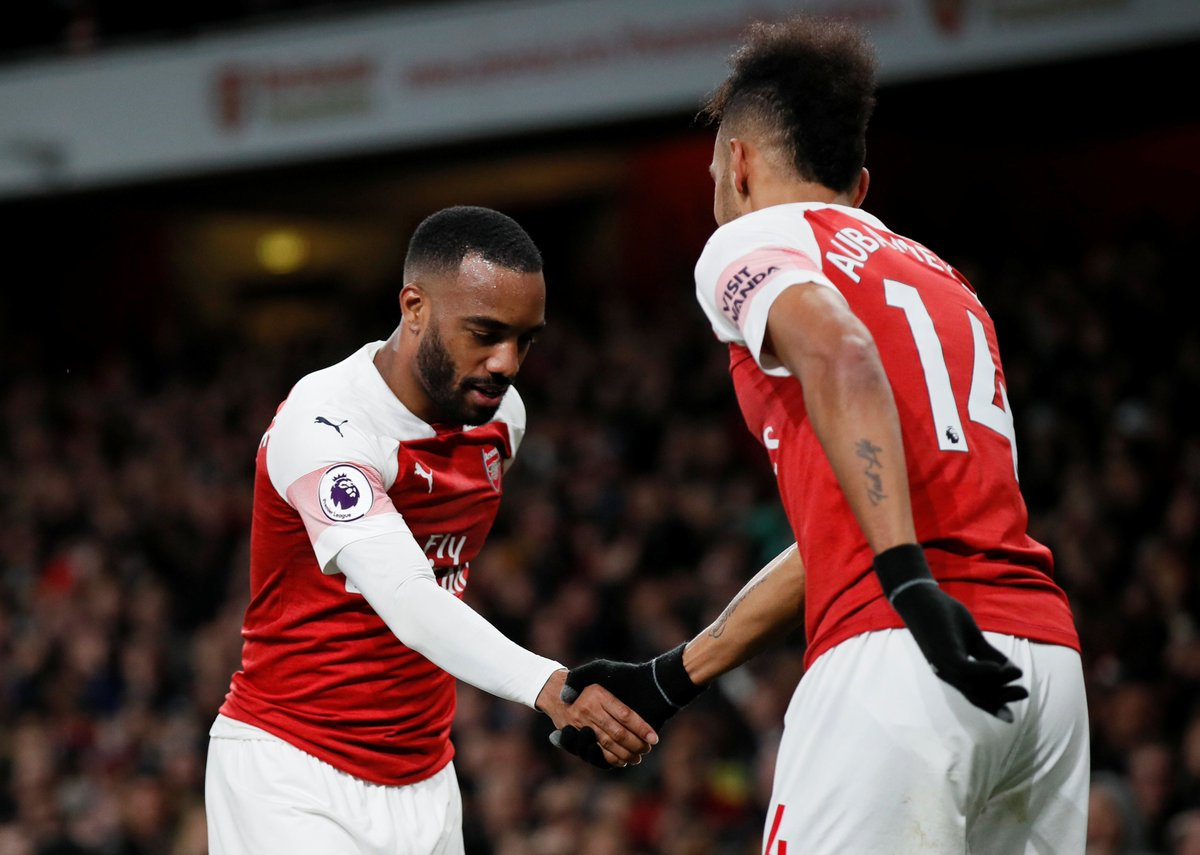 A goal sealed with a 🤝  #ARSNEW @LacazetteAlex @Aubameyang7