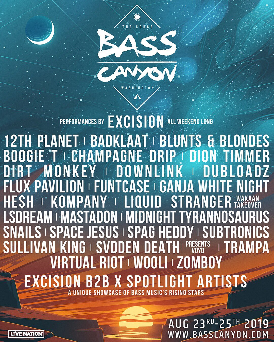 Bass Canyon lineup 2019