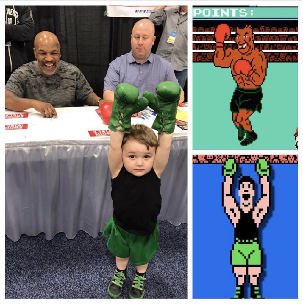 "Kid shows up to autograph show yesterday with Mike Tyson wearing Little Mac outfit from ""Mike Tyson's Punchout"" video game (📷 by @FitermanSports)"