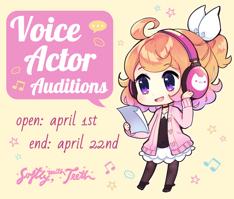 Animationssss Softly With Teeth On Twitter April Fools We Re Actually Not Joking About Voice Acting Auditions Being Open Six Roles Available Read Our Doc For Details Positions For Guys Gals And