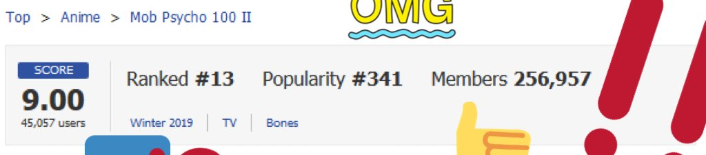 🥄 !! THANK YOU !! 🥄   My Anime List Score of Mob Psycho 100 II has reached incredible 9.00 which places us the 13th out of all anime on MAL!!!!  The Body Improvement Club appreciate all your support thus far!!!!!  #mobpsycho100 #モブサイコ100