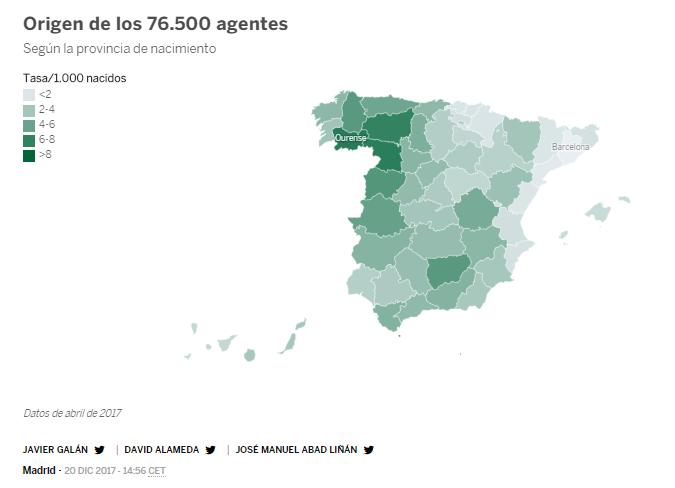 Tasa de andaluces en la Guardia Civil: 3,62/1.000  Tasa en Ourense: 7,35/1.000   MÁS DEL DOBLE.   Pero claro; todo lo malo, cateto e inculto se tiene que asociar con Andalucía de la forma que sea. Tamô jartô.