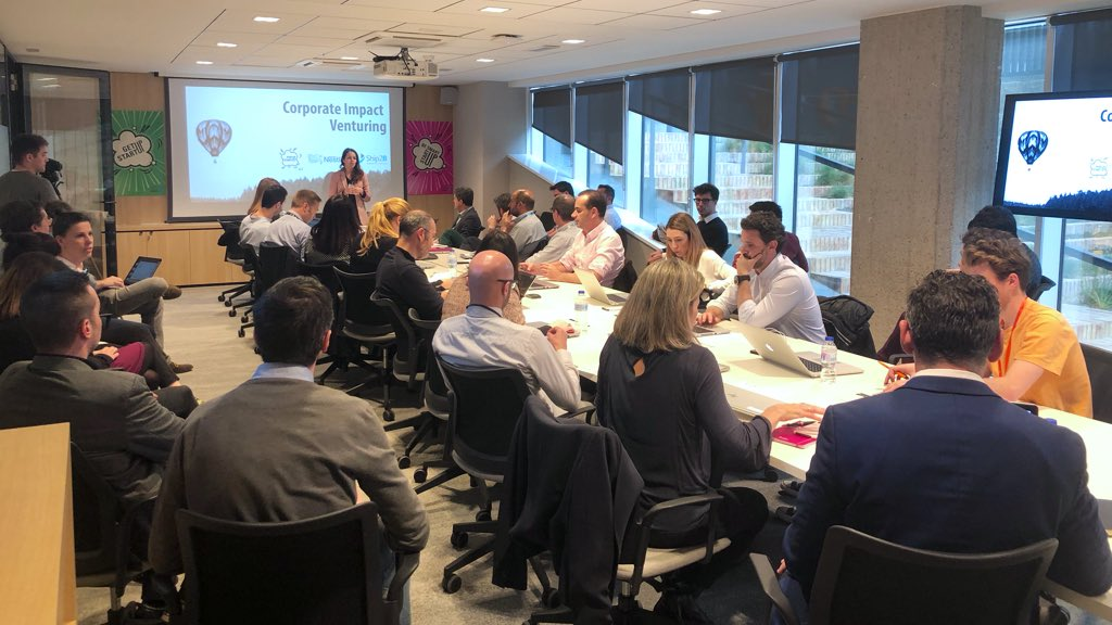 Primera toma de contacto entre 9 startups de impacto y los profesionales de @Nestle_es con el objetivo de impulsar alianzas estratégicas y la cultura innovadora. #CorporateImpactVenturing