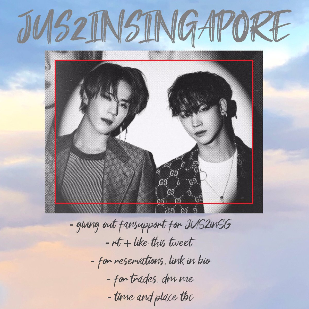 [RT JUS2 IN SG]  the , the , and you    fansupport for  #JUS2inSINGAPORE #JUS2inSG #Jus2_FOCUSTOURinSG    dm for trades!!   reservations:   https:// forms.gle/CWWTkUEDZsPbx4 Ly8   …    check picture for more deets!!   COME AND GET IT   ** will release pictures for PCs soon!<br>http://pic.twitter.com/KfSLdlGhA8