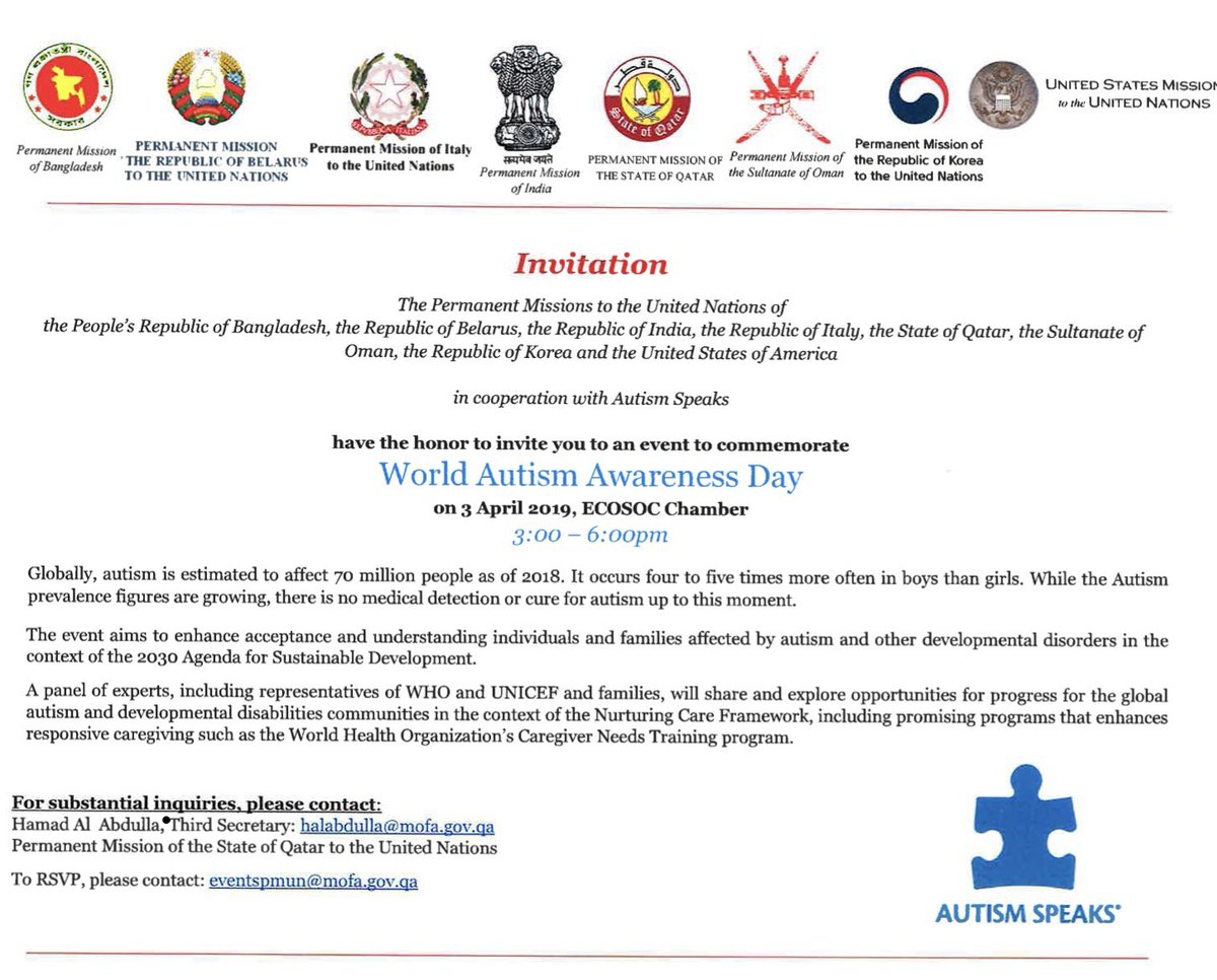 Autism Speaks Updates Their Mission >> Qatar Mission To Un On Twitter In Commemoration Of World