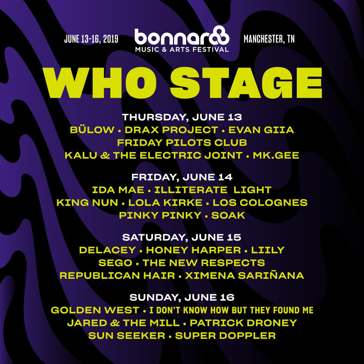 Bonnaroo Who Stage lineup 2019