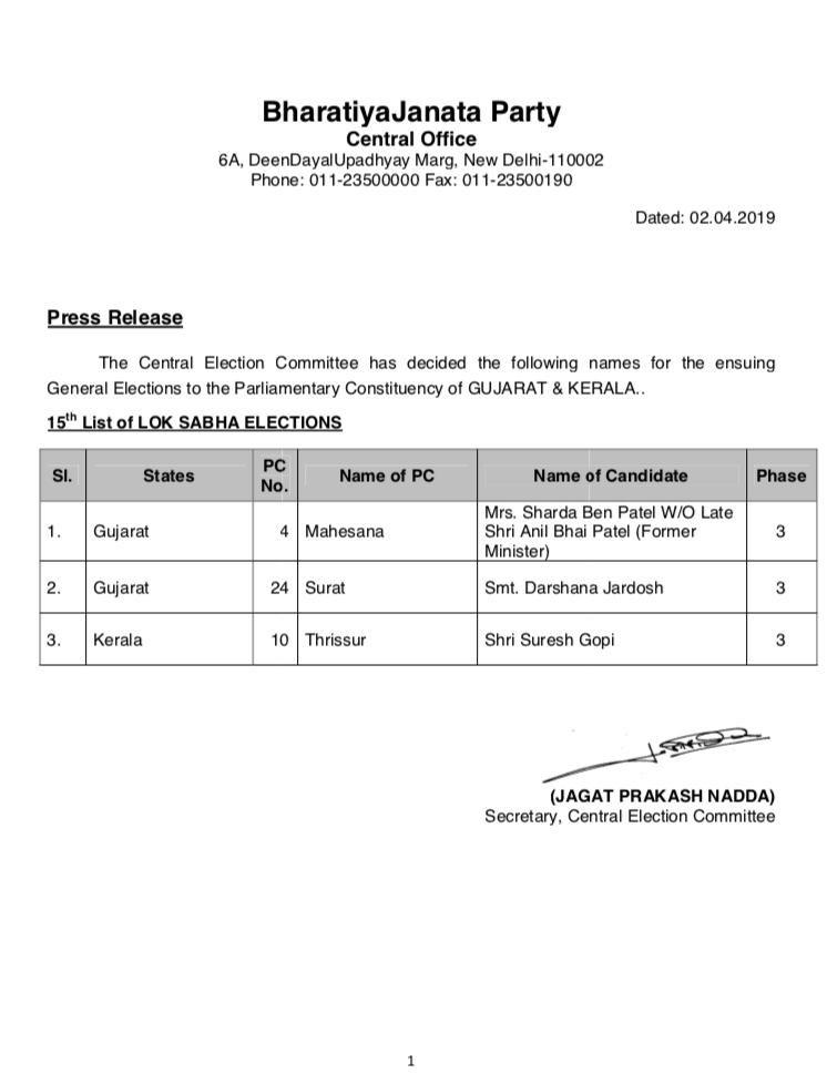 BJP fields Shardaben Anil Patel on Mahesana seat, Darshna Jardosh repeated on Surat seat