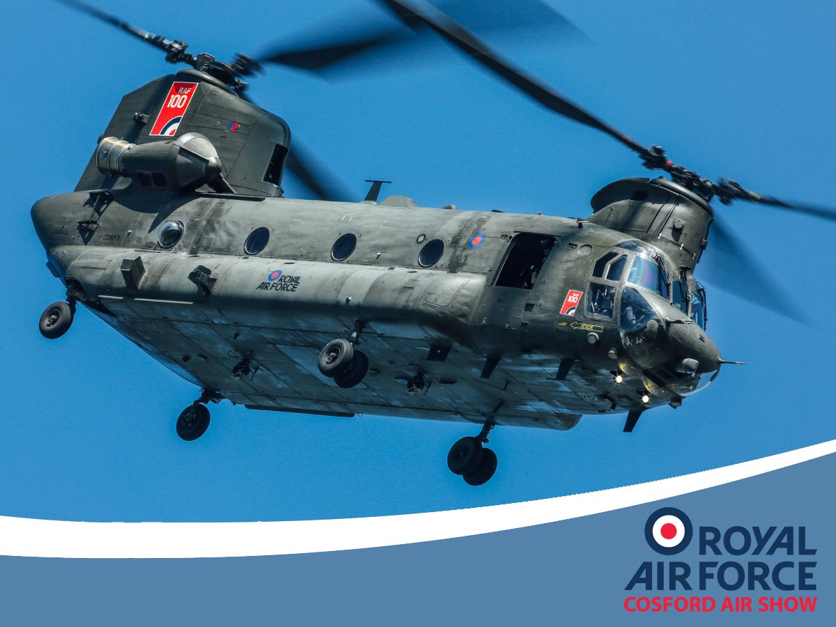 Making a welcome return to the RAF Cosford Air Show, the iconic Chinook helicopter will be performing in the skies over Shropshire on Sunday 9th June. @ChinookDisplay #Cosford19 #bladeslap
