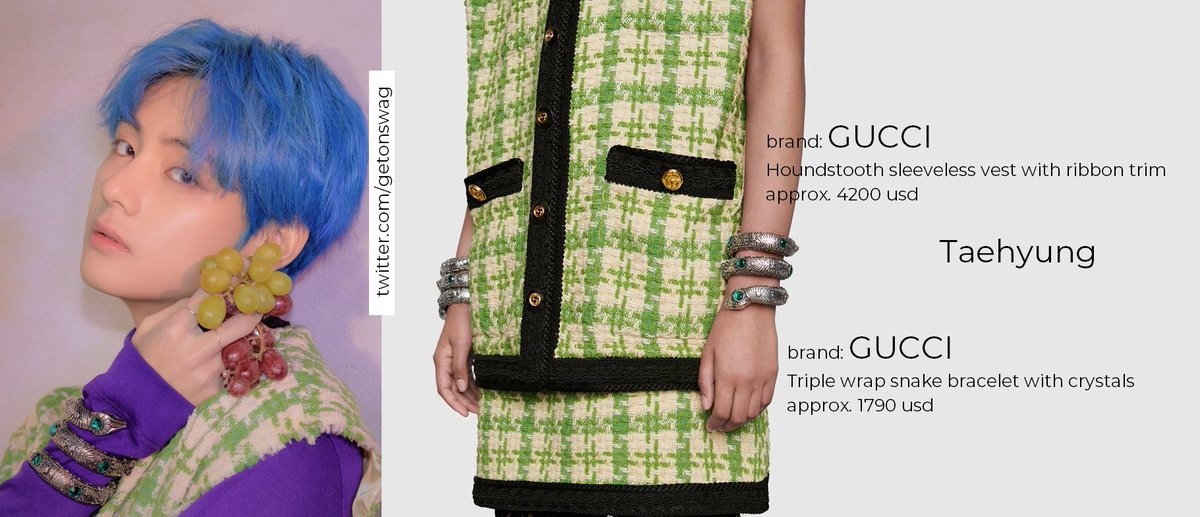 1041bf26f9a6e ... Concept Photo version 4  방탄소년단  Taehyung  V GUCCI Triple wrap snake  bracelet with crystals GUCCI Houndstooth sleeveless vest with ribbon trim…  ...