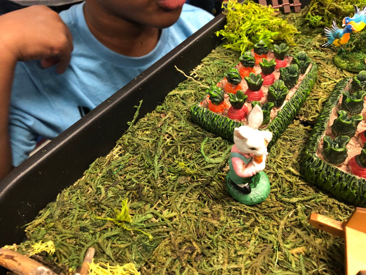"""What's more fun than a miniature  scenes from """"Peter Rabbit""""  to teach the parts of a story. We had the setting,, characters, focal points, gestures, clothing, objects and  it all made the story come to life! Up next is """"Rosie's Walk' ! <a target='_blank' href='https://t.co/3aWoh7nkwx'>https://t.co/3aWoh7nkwx</a>"""
