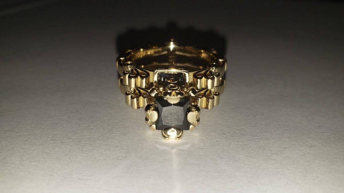 f61d83eebc6 High  Renaissance - Art Masters  Caravaggio 14K Yellow  Gold 1.5 Ct  Princess Black  Diamond Engagement Ring Wedding Band Set R627S-14KYGBD by  Caravaggio ...