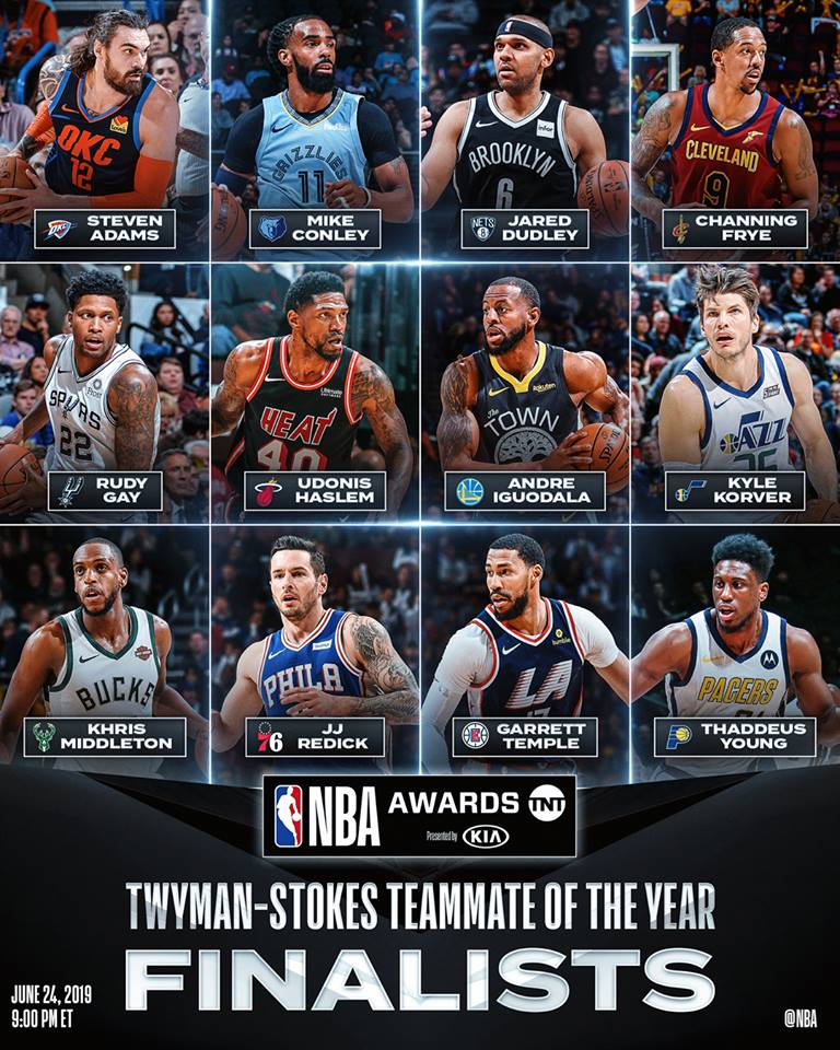 Thank u for the nomination for the 2018-19 Twyman-Stokes Teammate of the Year Award #blessed #og