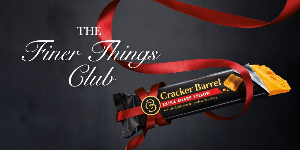 Welcome to the #FinerThingsClub, taking place every evening between the hours of 5 & 7 pm, where we discuss life's true pleasures all while snacking on our favorite Cracker Barrel cheese. Do join us. <br>http://pic.twitter.com/O8q83XX3a5