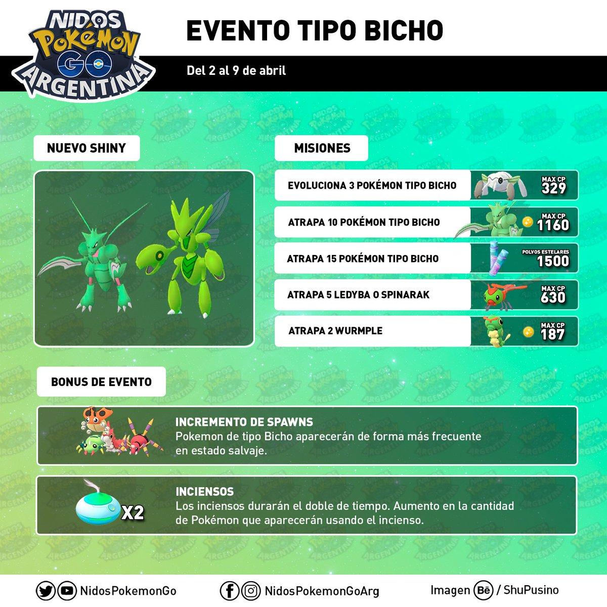 Imagen de los Pokémon shiny, las misiones y los bonus del evento de Bicho hecho por Nidos Pokémon GO Argentina
