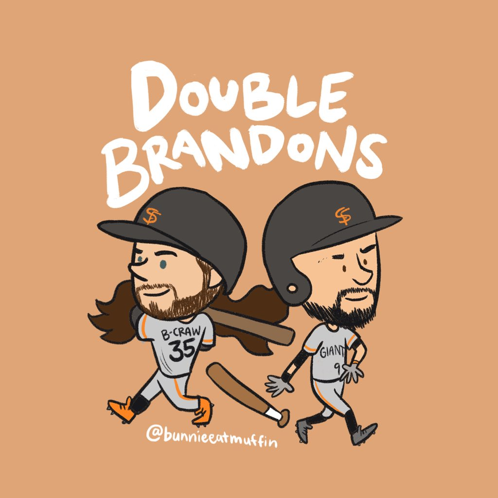 Double Brandon's, Double 200th Doubles! ⚾️⚾️ and 3.5 eyebrows   @sfgiants #SFGiants @bcraw35 @bbelt9 #BrandonsAreAwesome