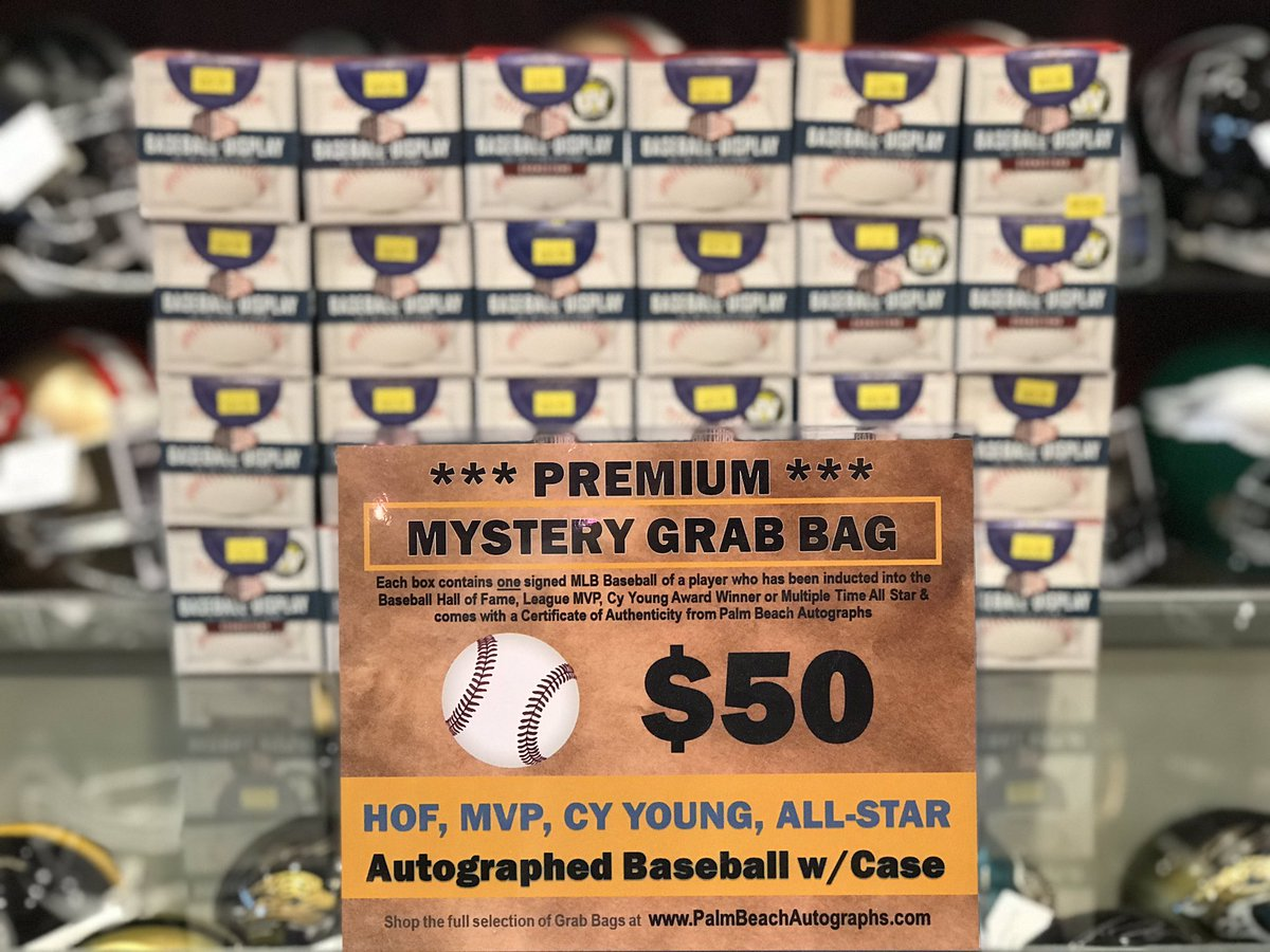 Just rolling out a new set of Premium Grab Bag Baseballs! Each Baseball is guaranteed to be either a Hall of Famer, MVP, CY, or multiple time All Star! ONLY $49.99 and comes in a display case! #grabbag #mystery #baseball #sportsmemorabilia #autograph